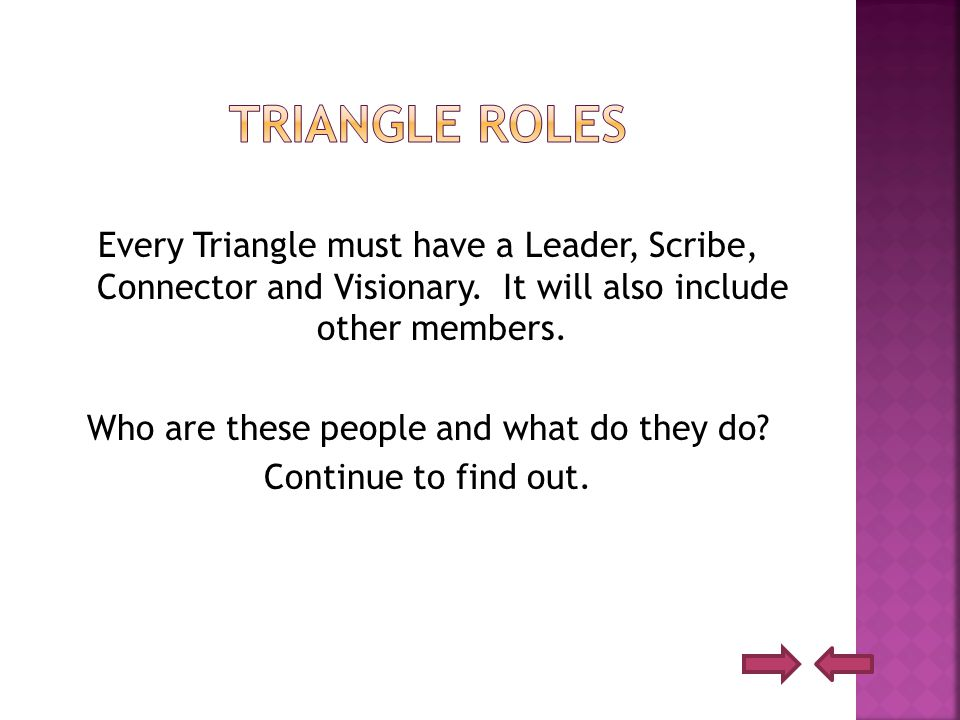 Every Triangle must have a Leader, Scribe, Connector and Visionary.