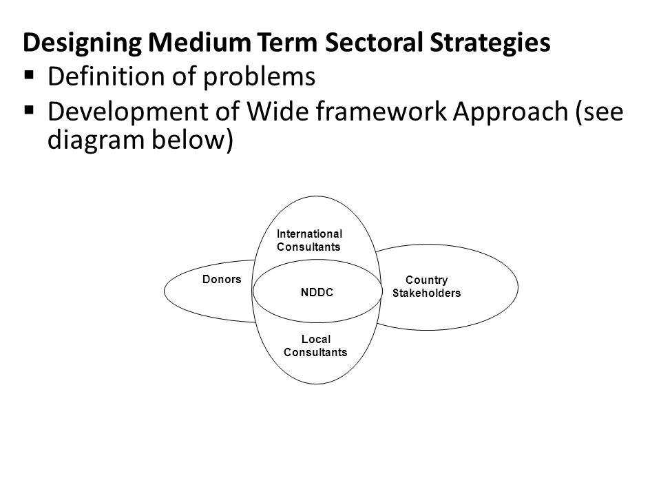 Designing Medium Term Sectoral Strategies Country Stakeholders Donors International Consultants Local Consultants  Definition of problems  Development of Wide framework Approach (see diagram below) NDDC