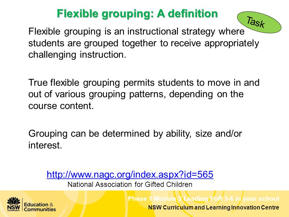 Phase 1 Module 3 Leading FoR 3-6 in your school NSW Curriculum and Learning Innovation Centre Flexible grouping is an instructional strategy where students are grouped together to receive appropriately challenging instruction.