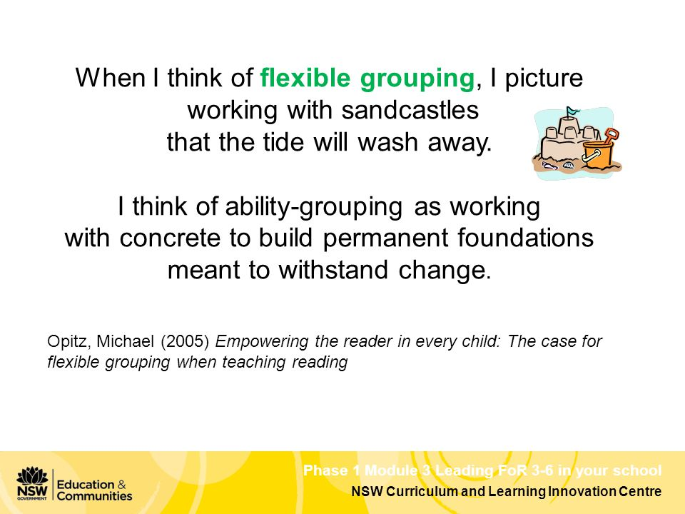 Phase 1 Module 3 Leading FoR 3-6 in your school NSW Curriculum and Learning Innovation Centre When I think of flexible grouping, I picture working with sandcastles that the tide will wash away.