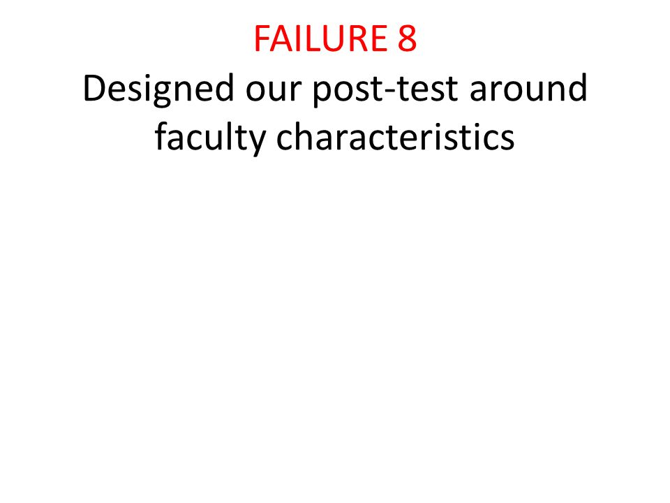 FAILURE 8 Designed our post-test around faculty characteristics
