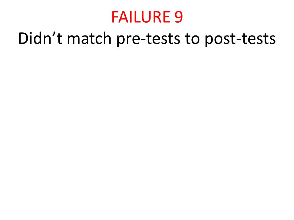FAILURE 9 Didn't match pre-tests to post-tests