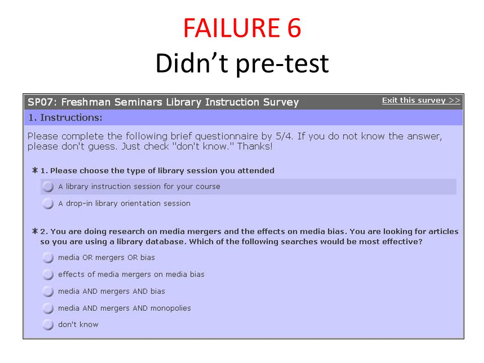 FAILURE 6 Didn't pre-test