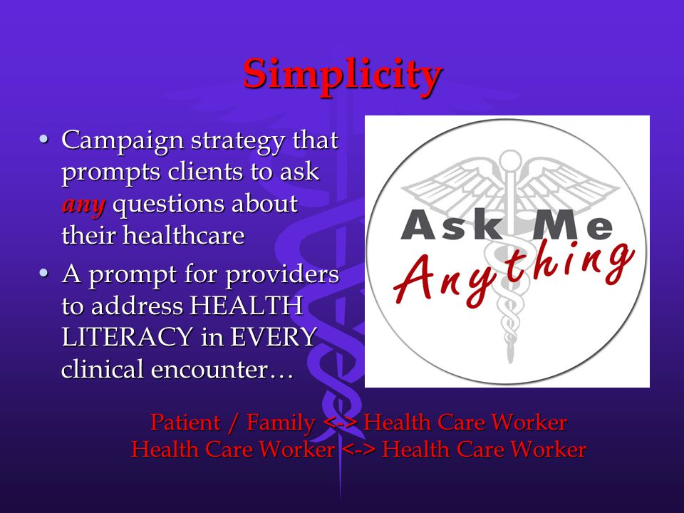 Simplicity Campaign strategy that prompts clients to ask any questions about their healthcareCampaign strategy that prompts clients to ask any questions about their healthcare A prompt for providers to address HEALTH LITERACY in EVERY clinical encounter…A prompt for providers to address HEALTH LITERACY in EVERY clinical encounter… Patient / Family Health Care Worker Health Care Worker Health Care Worker