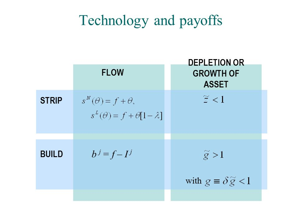Technology and payoffs FLOW DEPLETION OR GROWTH OF ASSET STRIP BUILD b j = f – I j with