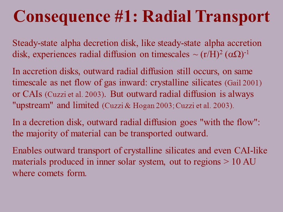 Consequence #1: Radial Transport Steady-state alpha decretion disk, like steady-state alpha accretion disk, experiences radial diffusion on timescales ~ (r/H) 2 (  ) -1 In accretion disks, outward radial diffusion still occurs, on same timescale as net flow of gas inward: crystalline silicates (Gail 2001) or CAIs (Cuzzi et al.