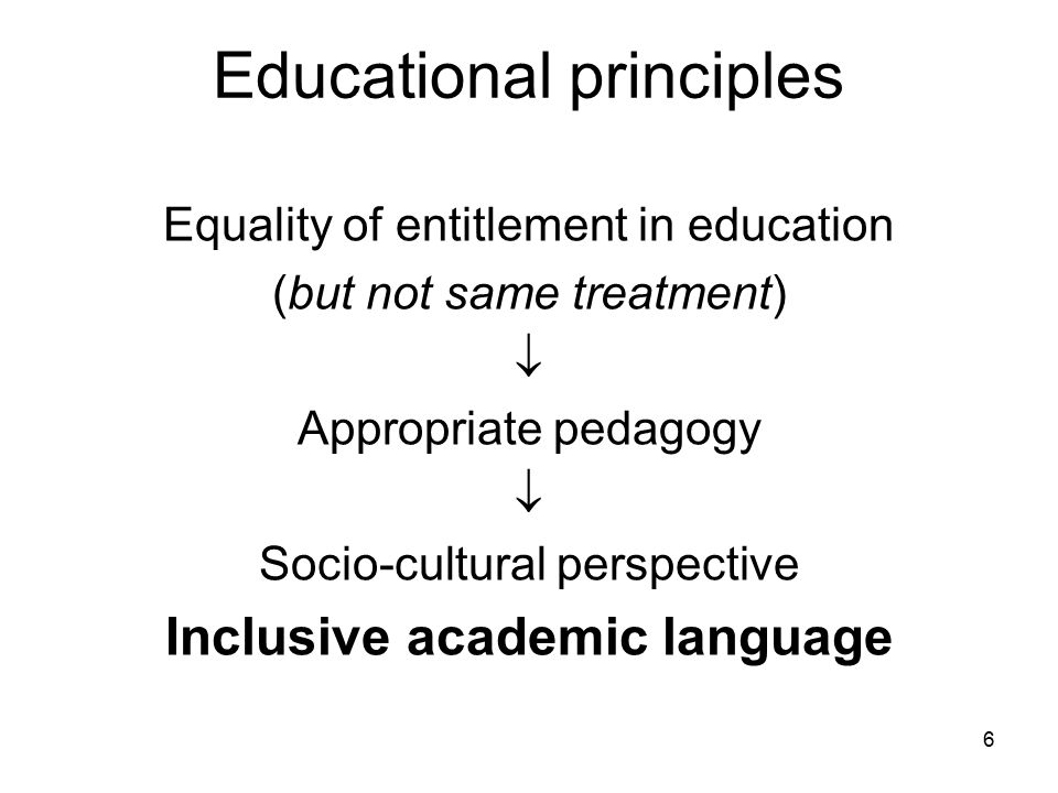 Educational principles Equality of entitlement in education (but not same treatment)  Appropriate pedagogy  Socio-cultural perspective Inclusive academic language 6
