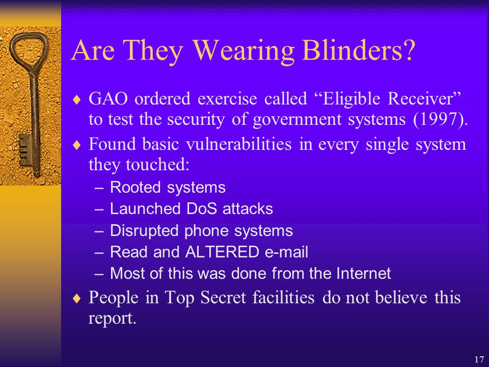 17 Are They Wearing Blinders.
