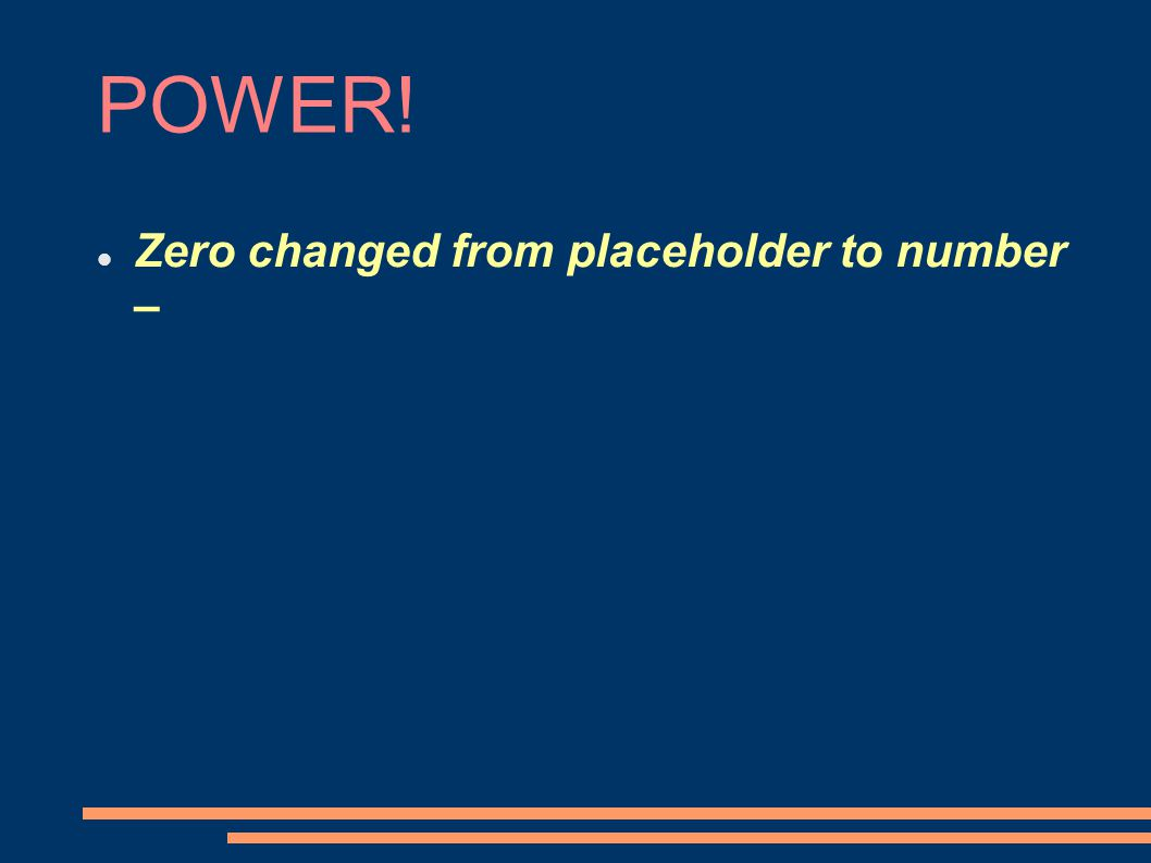POWER! Zero changed from placeholder to number –