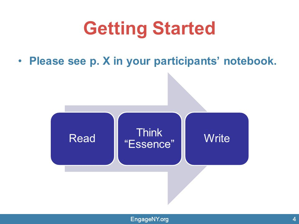 Getting Started Please see p. X in your participants' notebook.