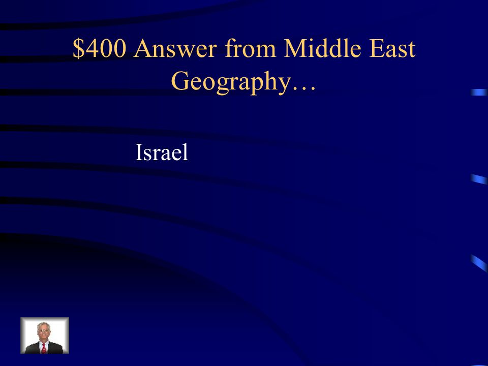 $400 Question from Middle East Geography… This country is the disputed homeland between the Palestinians (Muslims) and the Jews.