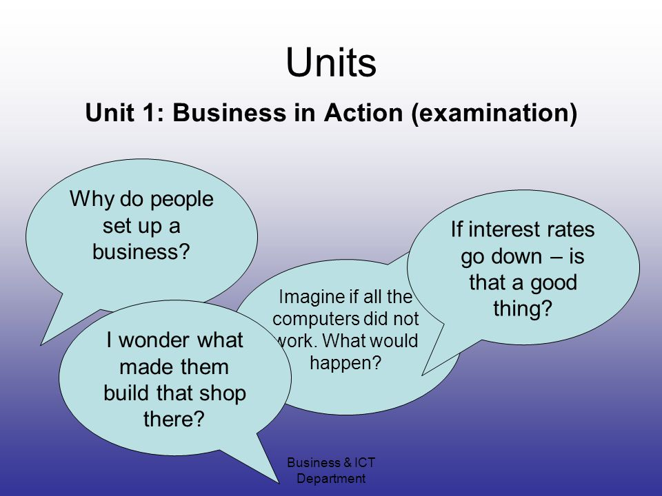 Business & ICT Department Units Unit 1: Business in Action (examination) Why do people set up a business.