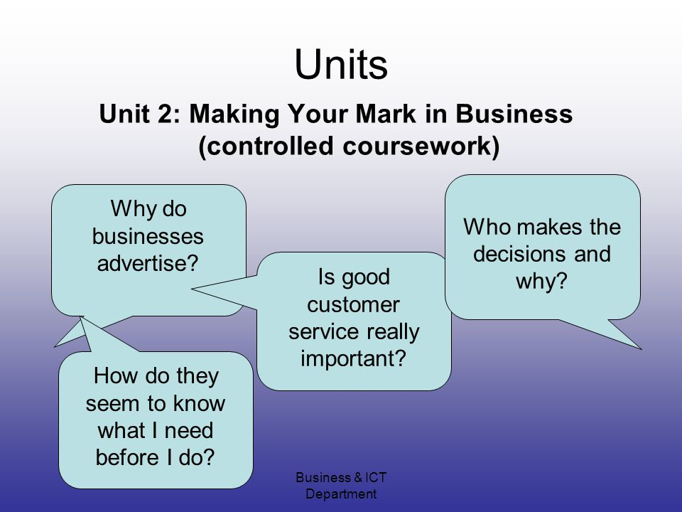 Business & ICT Department Units Unit 2: Making Your Mark in Business (controlled coursework) Why do businesses advertise.