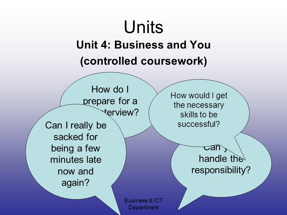 Business & ICT Department Units Unit 4: Business and You (controlled coursework) How do I prepare for a job interview.