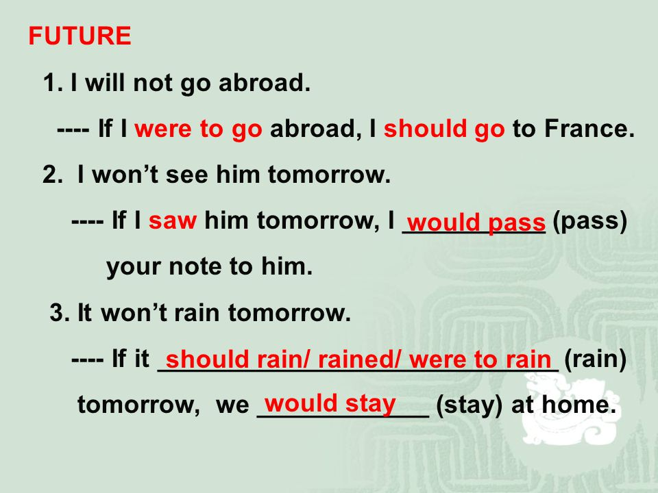 FUTURE 1. I will not go abroad. ---- If I were to go abroad, I should go to France.