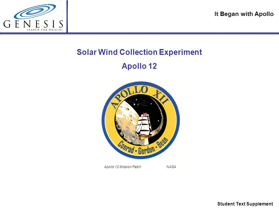 It Began with Apollo Student Text Supplement Solar Wind Collection Experiment Apollo 12 Apollo 12 Mission Patch NASA