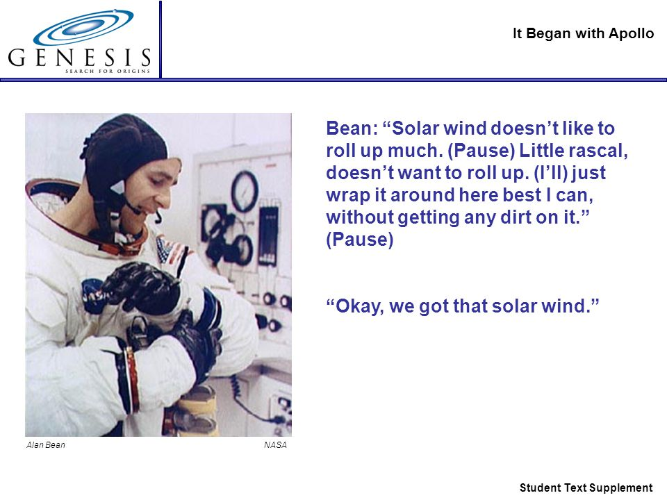 It Began with Apollo Student Text Supplement Bean: Solar wind doesn't like to roll up much.