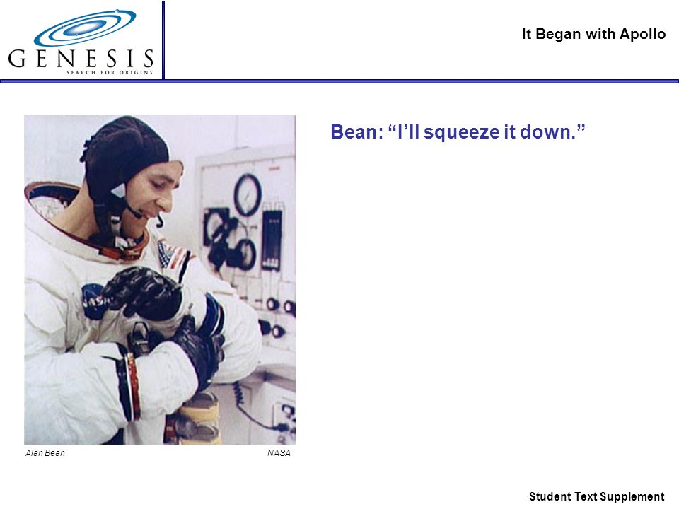 It Began with Apollo Student Text Supplement Bean: I'll squeeze it down. Alan Bean NASA