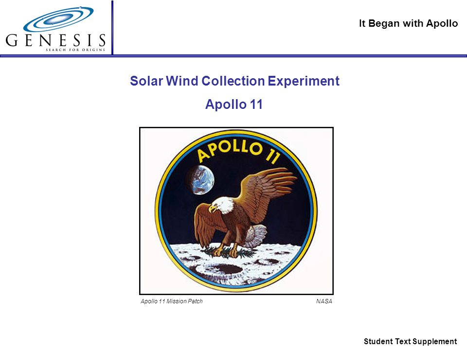 It Began with Apollo Student Text Supplement Solar Wind Collection Experiment Apollo 11 Apollo 11 Mission Patch NASA