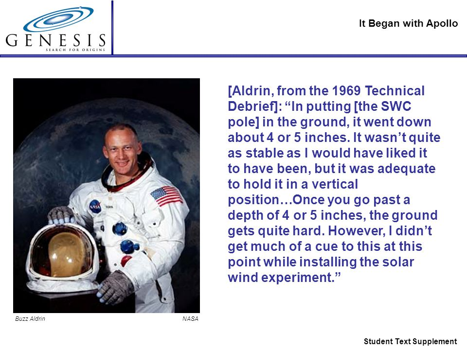 It Began with Apollo Student Text Supplement [Aldrin, from the 1969 Technical Debrief]: In putting [the SWC pole] in the ground, it went down about 4 or 5 inches.