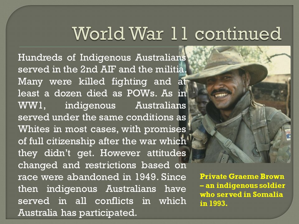 Private Graeme Brown – an indigenous soldier who served in Somalia in 1993.