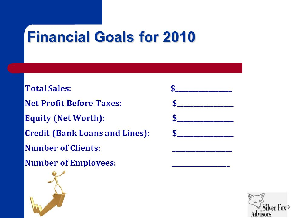 Financial Goals for 2010 Total Sales:$_________________ Net Profit Before Taxes: $_________________ Equity (Net Worth): $_________________ Credit (Bank Loans and Lines): $_________________ Number of Clients: __________________ Number of Employees: ___________________