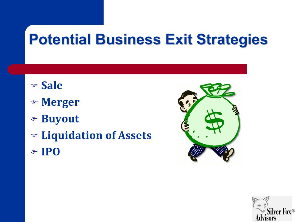 Potential Business Exit Strategies  Sale  Merger  Buyout  Liquidation of Assets  IPO