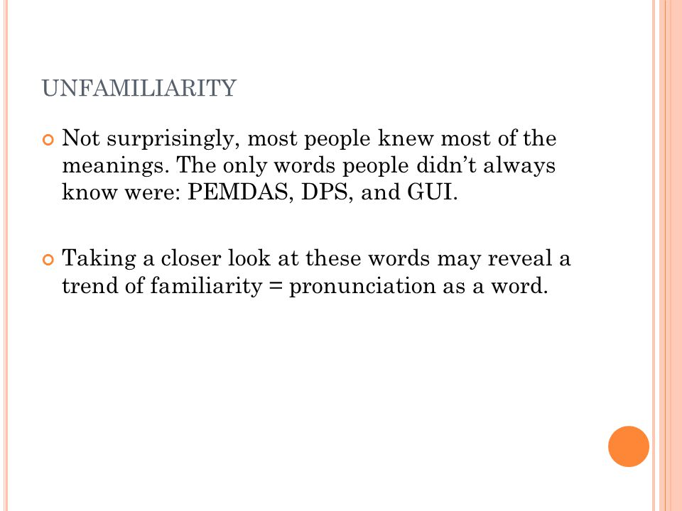 UNFAMILIARITY Not surprisingly, most people knew most of the meanings.
