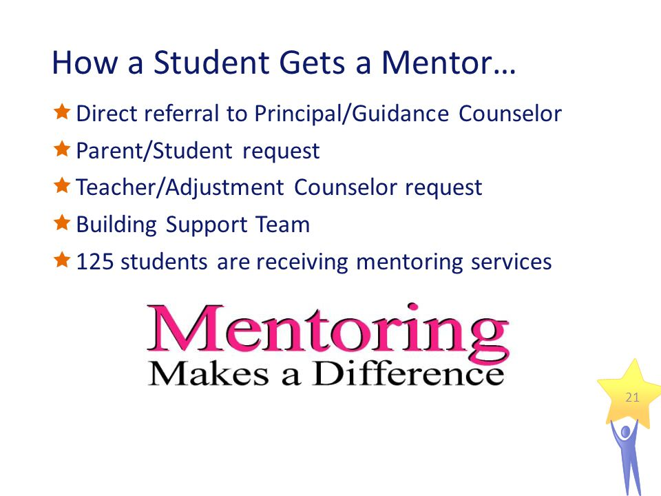 How a Student Gets a Mentor…  Direct referral to Principal/Guidance Counselor  Parent/Student request  Teacher/Adjustment Counselor request  Building Support Team  125 students are receiving mentoring services 21