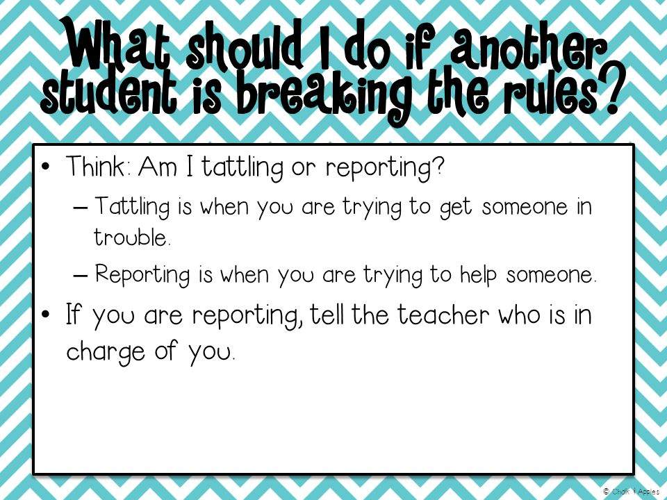 What should I do if another student is breaking the rules.