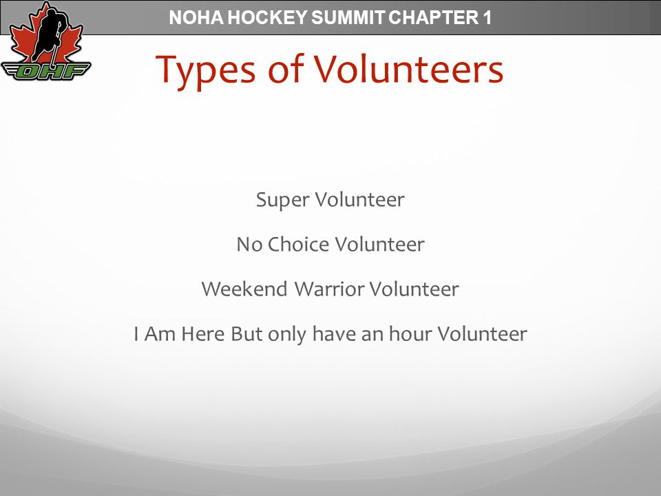 NOHA HOCKEY SUMMIT CHAPTER 1 Types of Volunteers Super Volunteer No Choice Volunteer Weekend Warrior Volunteer I Am Here But only have an hour Volunteer