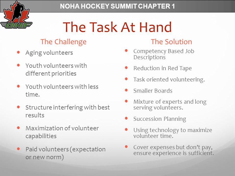 NOHA HOCKEY SUMMIT CHAPTER 1 The Task At Hand The Challenge Aging volunteers Youth volunteers with different priorities Youth volunteers with less time.