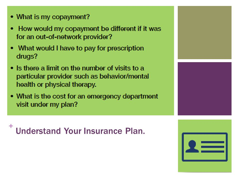 + Understand Your Insurance Plan.