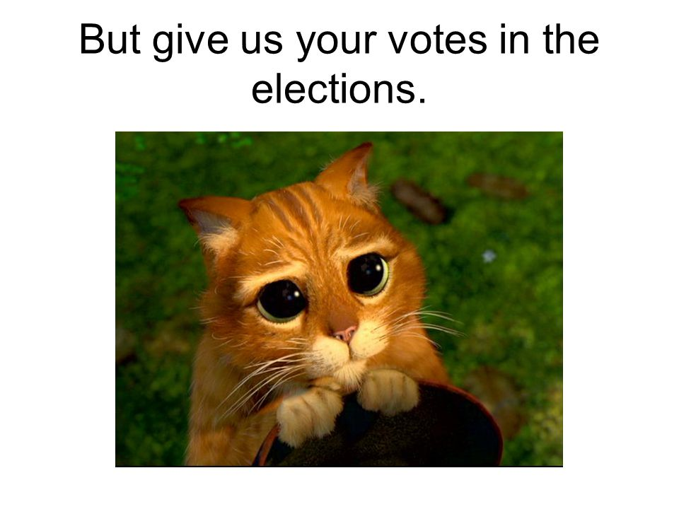 But give us your votes in the elections.