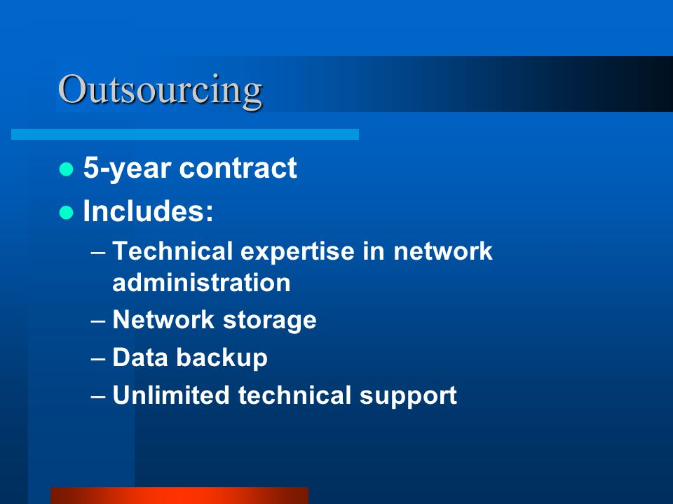 Outsourcing 5-year contract Includes: –Technical expertise in network administration –Network storage –Data backup –Unlimited technical support
