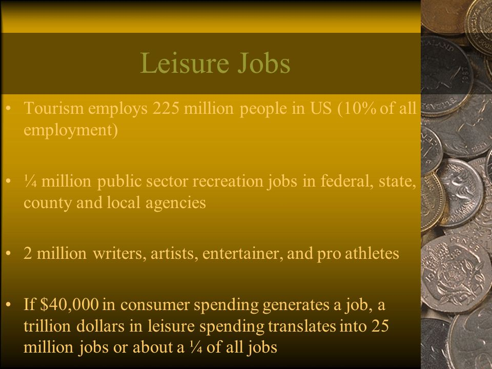 Leisure Jobs Tourism employs 225 million people in US (10% of all employment) ¼ million public sector recreation jobs in federal, state, county and local agencies 2 million writers, artists, entertainer, and pro athletes If $40,000 in consumer spending generates a job, a trillion dollars in leisure spending translates into 25 million jobs or about a ¼ of all jobs