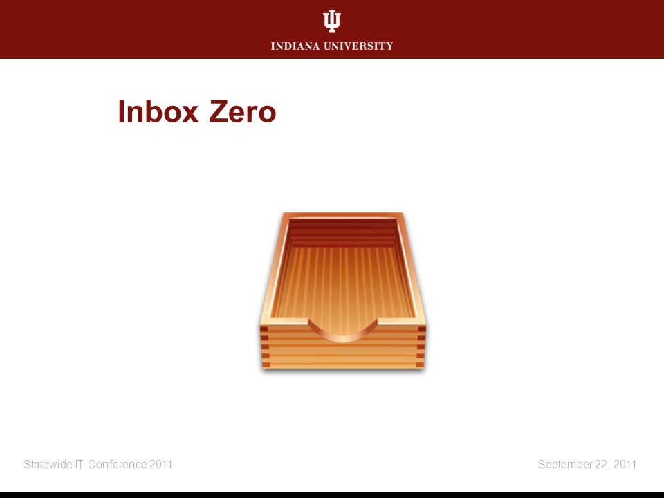 Inbox Zero September 22, 2011Statewide IT Conference 2011