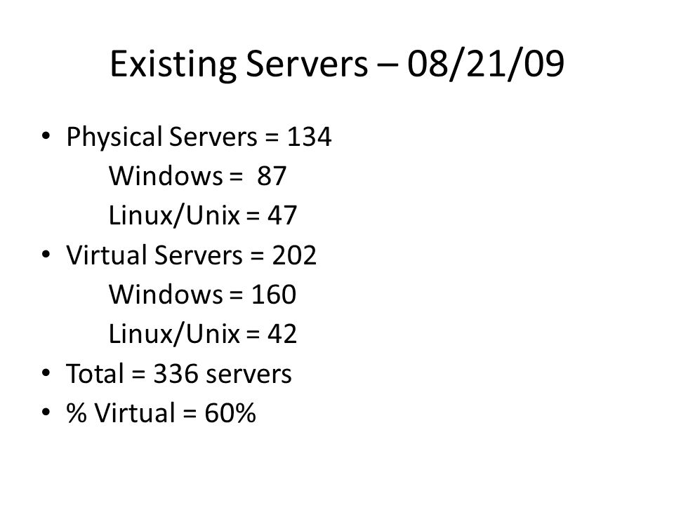 Existing Servers – 08/21/09 Physical Servers = 134 Windows = 87 Linux/Unix = 47 Virtual Servers = 202 Windows = 160 Linux/Unix = 42 Total = 336 servers % Virtual = 60%