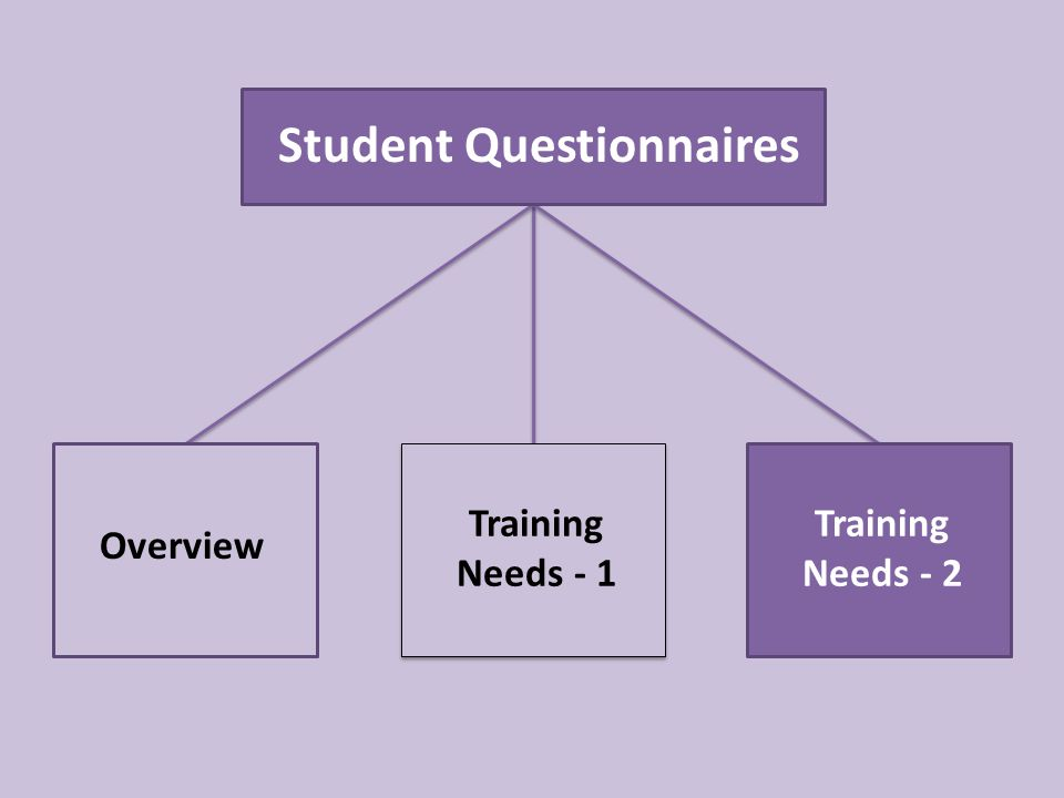 Student Questionnaires Overview Training Needs - 1 Training Needs - 2