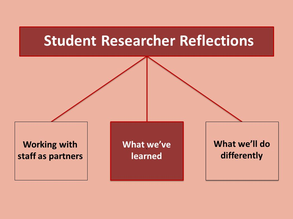 ` ` Student Researcher Reflections What we'll do differently Working with staff as partners What we've learned
