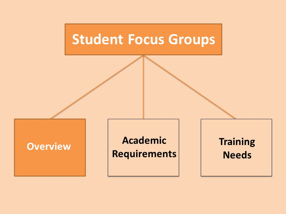Student Focus Groups Overview Academic Requirements Training Needs