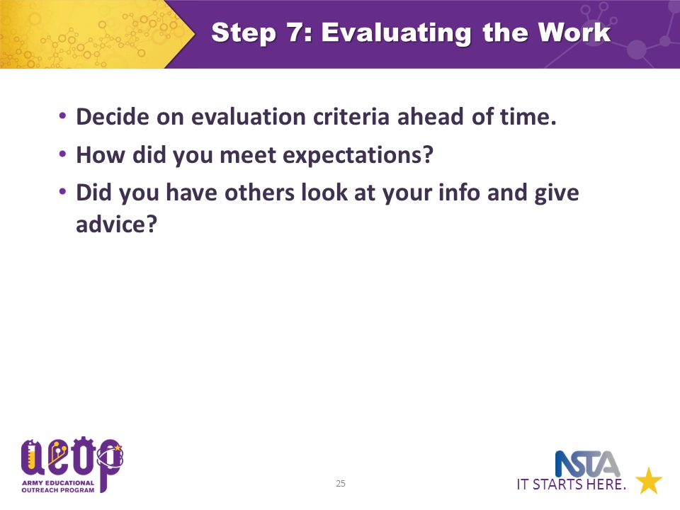 IT STARTS HERE. 25 Step 7: Evaluating the Work Decide on evaluation criteria ahead of time.