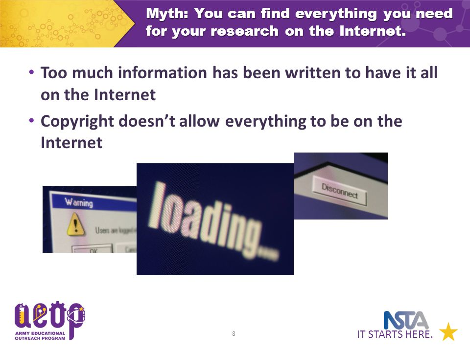 IT STARTS HERE. 8 Myth: You can find everything you need for your research on the Internet.