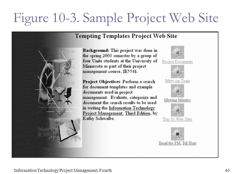 40Information Technology Project Management, Fourth Figure 10-3. Sample Project Web Site