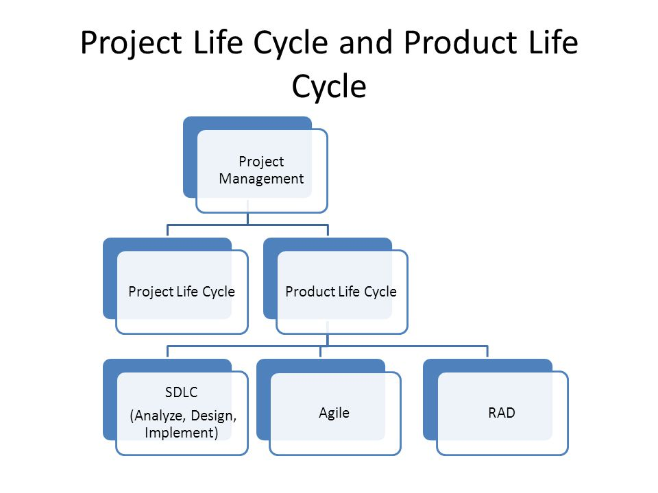 Project Life Cycle and Product Life Cycle Project Management Project Life CycleProduct Life Cycle SDLC (Analyze, Design, Implement) AgileRAD