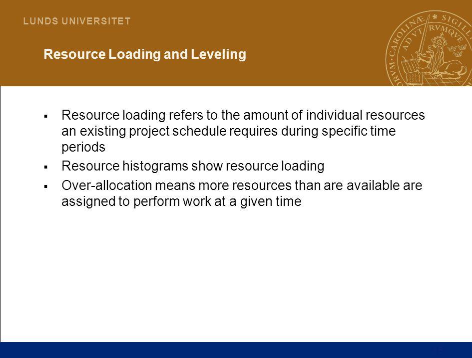 18 L U N D S U N I V E R S I T E T Resource Loading and Leveling  Resource loading refers to the amount of individual resources an existing project schedule requires during specific time periods  Resource histograms show resource loading  Over-allocation means more resources than are available are assigned to perform work at a given time