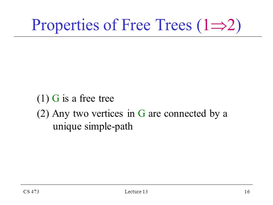 CS 473Lecture 1316 Properties of Free Trees (1  2) (1) G is a free tree (2) Any two vertices in G are connected by a unique simple-path