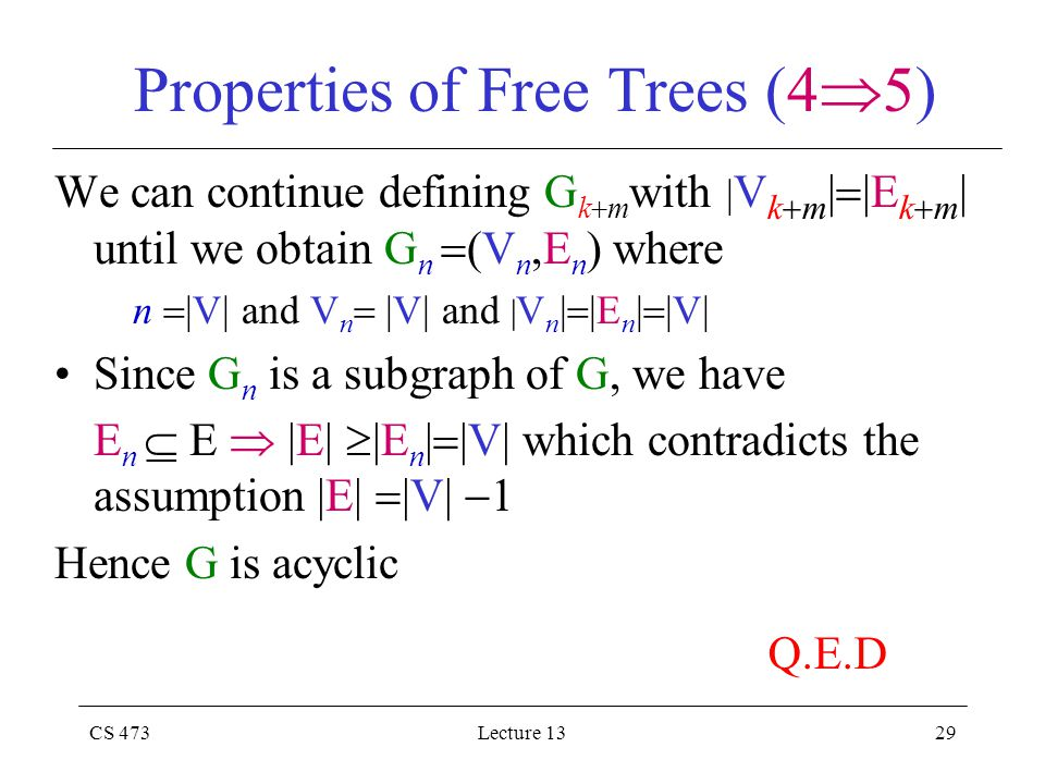 CS 473Lecture 1329 Properties of Free Trees (4  5) We can continue defining G k  m with | V k  m |  |E k  m | until we obtain G n  (V n,E n ) where n  |V| and V n  |V| and | V n |  |E n |  |V| Since G n is a subgraph of G, we have E n  E  |E|  |E n |  |V| which contradicts the assumption |E|  |V|  1 Hence G is acyclic Q.E.D