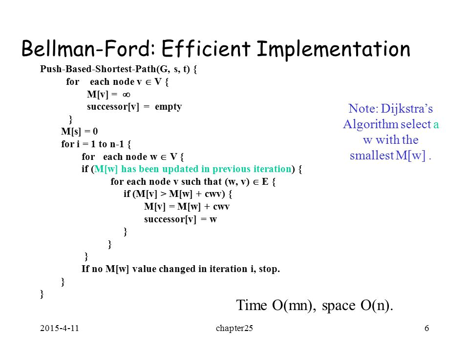 2015-4-11chapter256 Bellman-Ford: Efficient Implementation Push-Based-Shortest-Path(G, s, t) { for each node v  V { M[v] =  successor[v] = empty } M[s] = 0 for i = 1 to n-1 { for each node w  V { if (M[w] has been updated in previous iteration) { for each node v such that (w, v)  E { if (M[v] > M[w] + cwv) { M[v] = M[w] + cwv successor[v] = w } If no M[w] value changed in iteration i, stop.