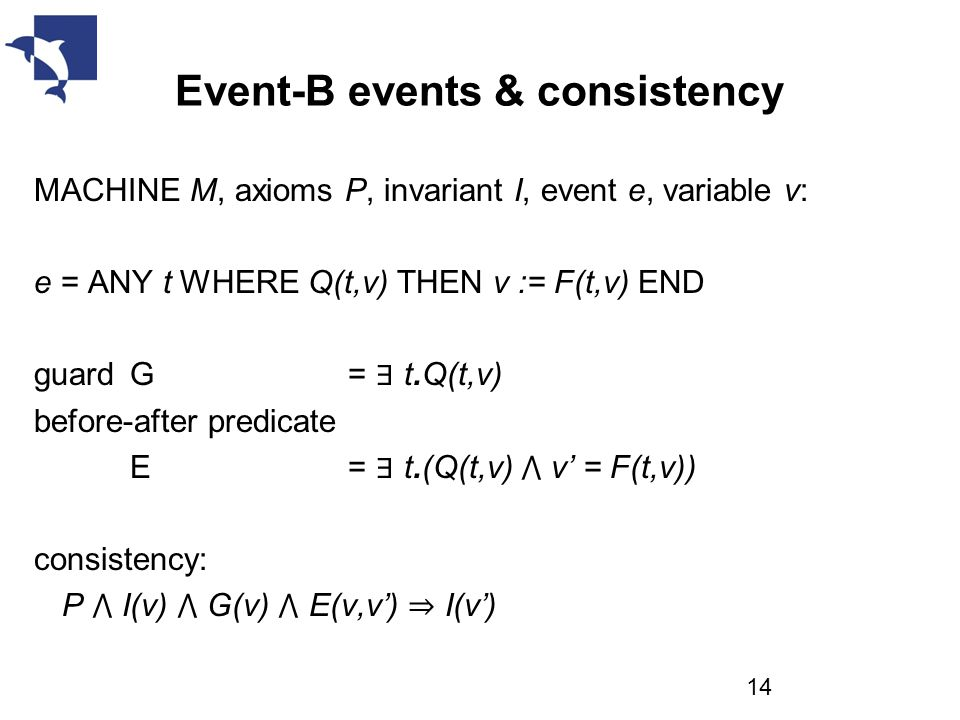 Event-B events & consistency MACHINE M, axioms P, invariant I, event e, variable v: e = ANY t WHERE Q(t,v) THEN v := F(t,v) END guard G = ∃ t.Q(t,v) before-after predicate E = ∃ t.(Q(t,v) ⋀ v' = F(t,v)) consistency: P ⋀ I(v) ⋀ G(v) ⋀ E(v,v') ⇒ I(v') 14